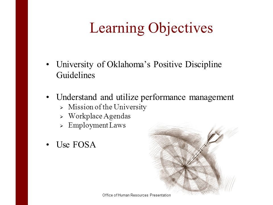 Learning Objectives University of Oklahomas Positive Discipline Guidelines Understand and utilize performance management Mission of the University Wor