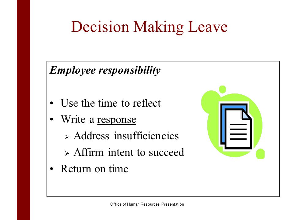 Decision Making Leave Employee responsibility Use the time to reflect Write a responseresponse Address insufficiencies Affirm intent to succeed Return