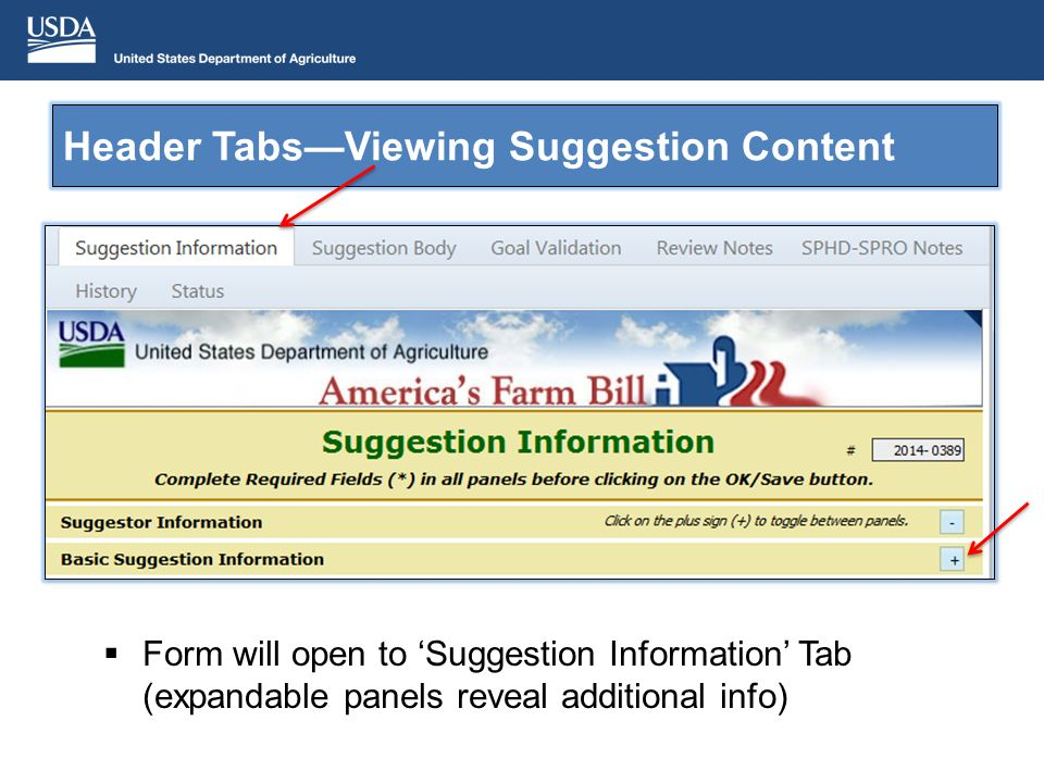 Header TabsViewing Suggestion Content Form will open to Suggestion Information Tab (expandable panels reveal additional info)