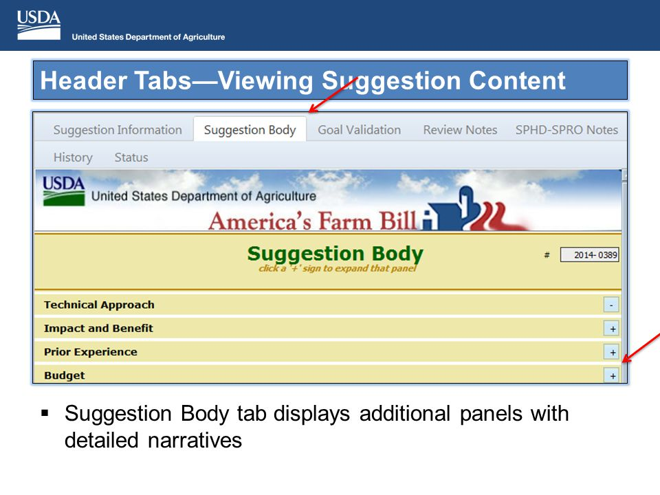 Suggestion Body tab displays additional panels with detailed narratives Header TabsViewing Suggestion Content