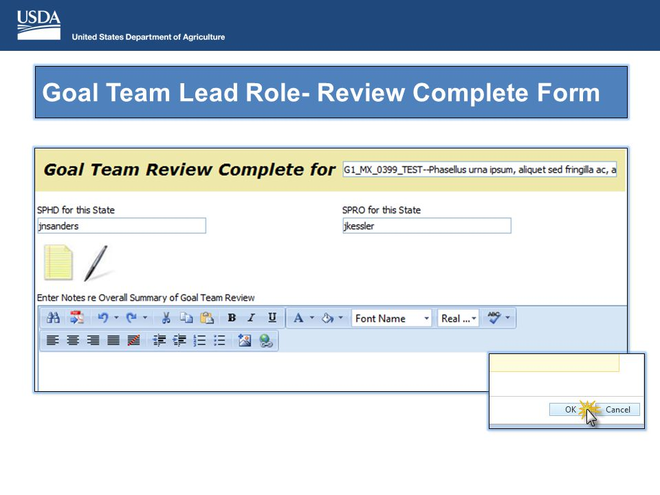 Goal Team Lead Role- Review Complete Form