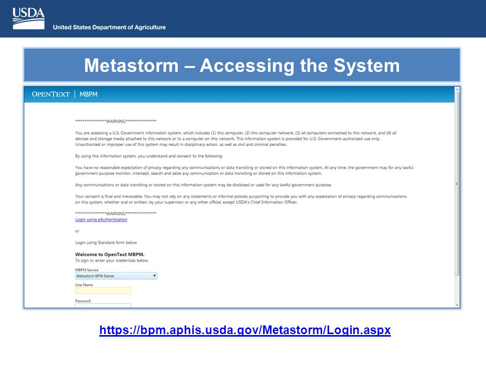 Metastorm – Accessing the System https://bpm.aphis.usda.gov/Metastorm/Login.aspx