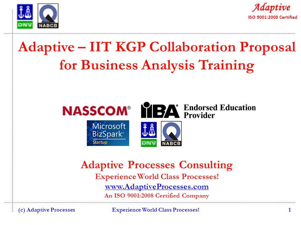 Adaptive – IIT KGP Collaboration Proposal for Business Analysis Training Adaptive Processes Consulting Experience World Class Processes.