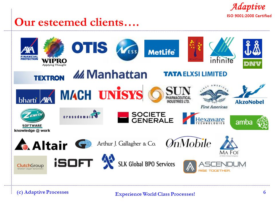 Experience World Class Processes! 7 Our esteemed clients…. (c) Adaptive Processes