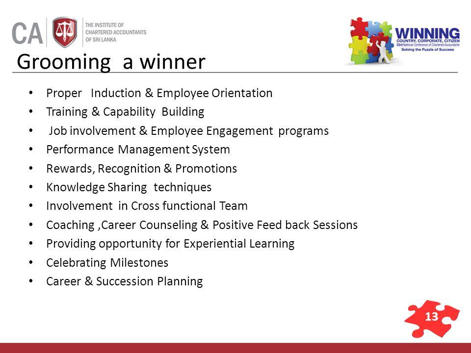 13 Grooming a winner Proper Induction & Employee Orientation Training & Capability Building Job involvement & Employee Engagement programs Performance