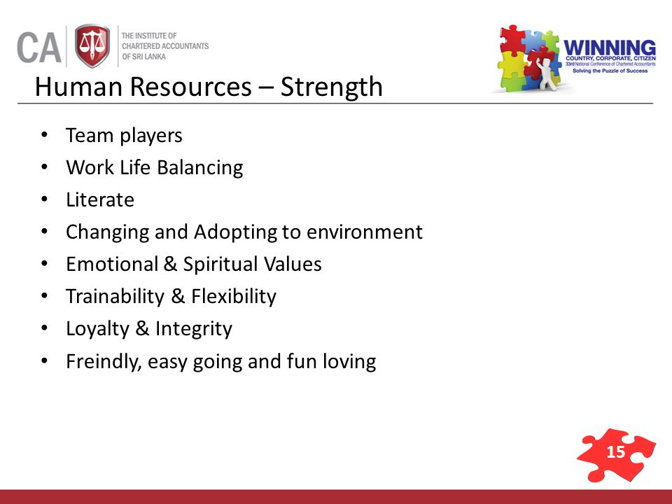 15 Human Resources – Strength Team players Work Life Balancing Literate Changing and Adopting to environment Emotional & Spiritual Values Trainability