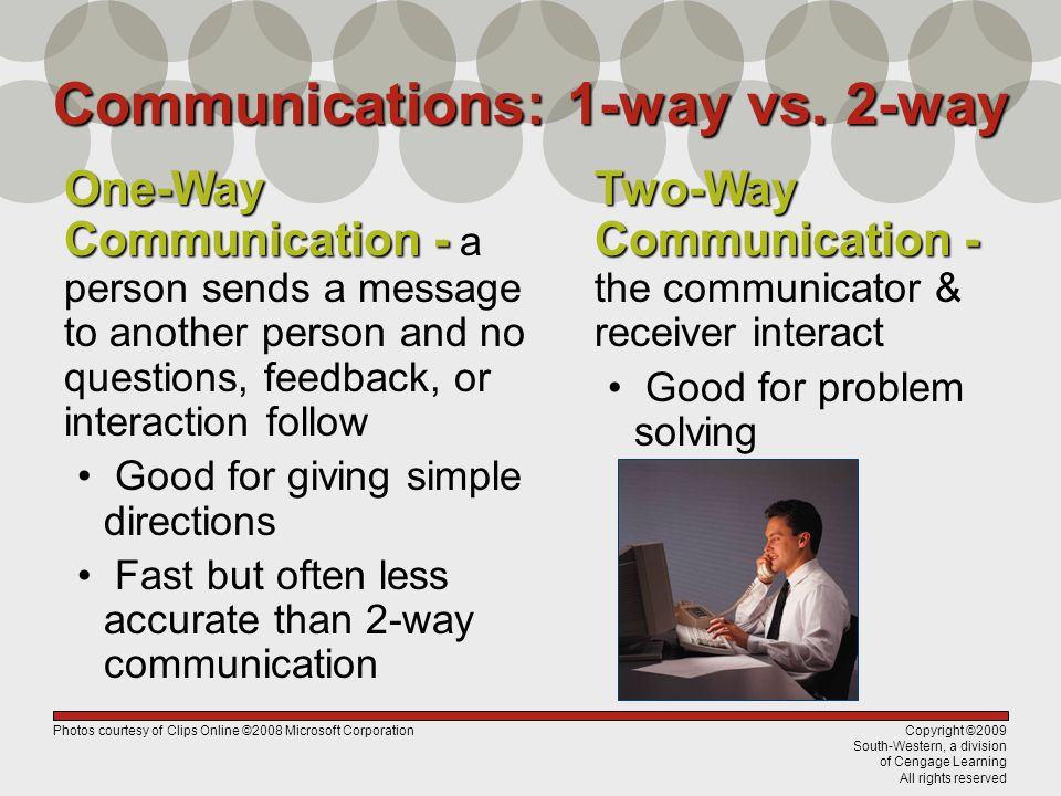 Copyright ©2009 South-Western, a division of Cengage Learning All rights reserved Communications: 1-way vs. 2-way Two-Way Communication - Two-Way Comm