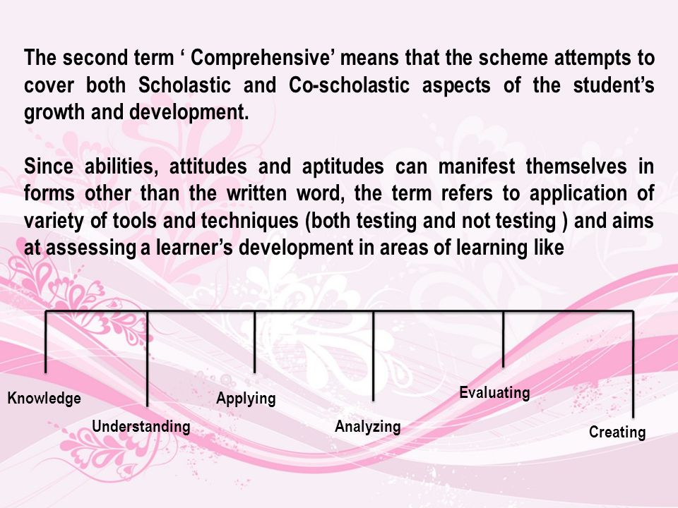 The second term Comprehensive means that the scheme attempts to cover both Scholastic and Co-scholastic aspects of the students growth and development.