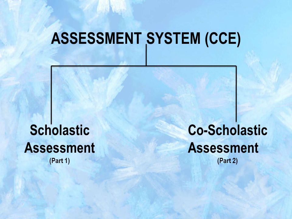 ASSESSMENT SYSTEM (CCE) Scholastic Assessment (Part 1) Co-Scholastic Assessment (Part 2)