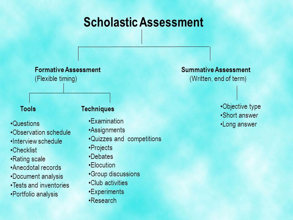 Scholastic Assessment Formative Assessment Summative Assessment (Flexible timing) (Written, end of term) ToolsTechniques Questions Observation schedul