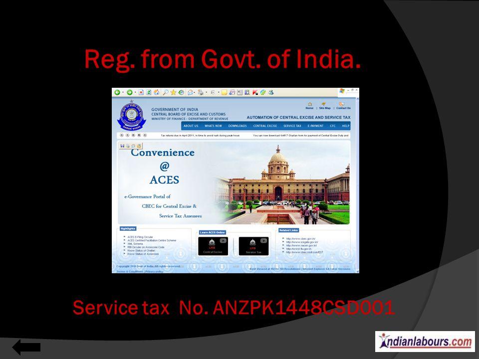 Department of Labour- Act 1954 Registration No. 2011042068
