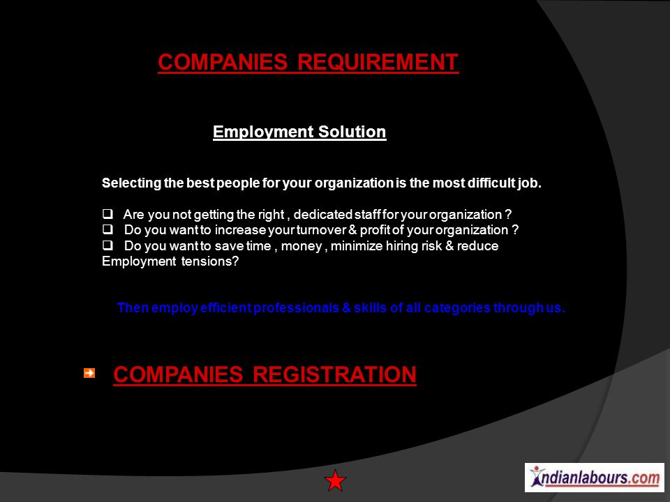COMPANIES REQUIREMENT Employment Solution Selecting the best people for your organization is the most difficult job. Are you not getting the right, de