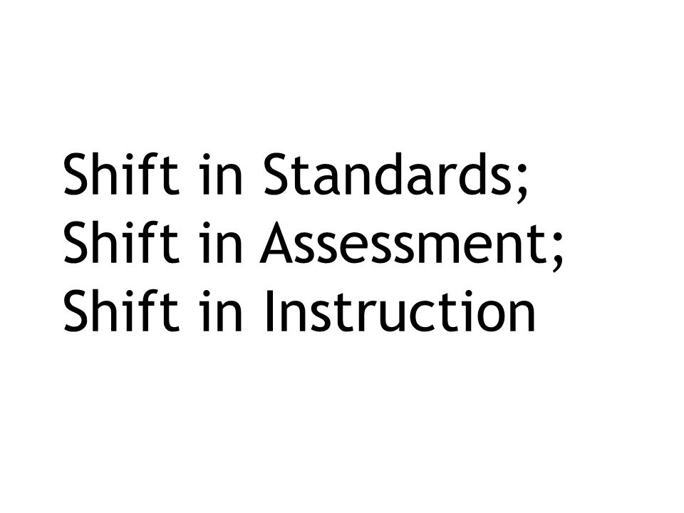 Shift in Standards; Shift in Assessment; Shift in Instruction