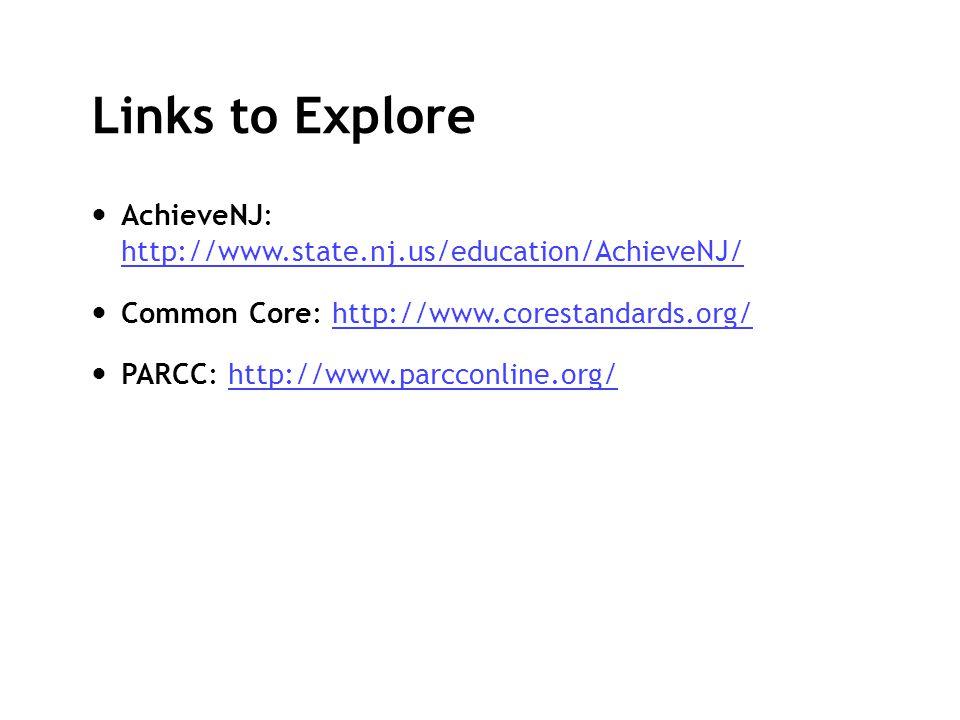 Links to Explore AchieveNJ: http://www.state.nj.us/education/AchieveNJ/ http://www.state.nj.us/education/AchieveNJ/ Common Core: http://www.corestanda