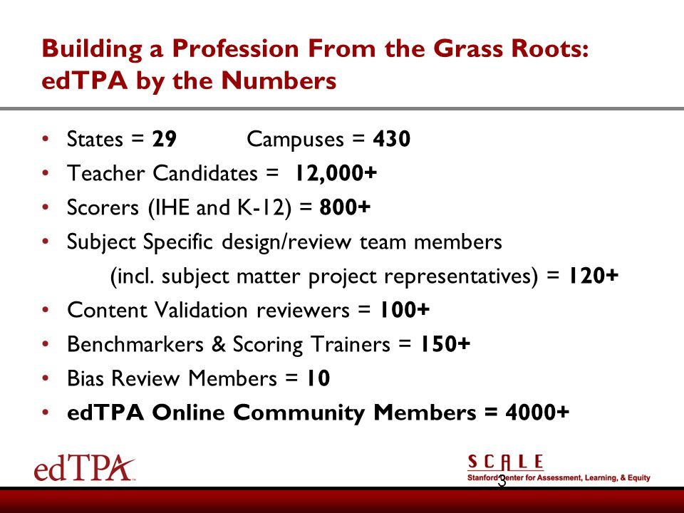 Building a Profession From the Grass Roots: edTPA by the Numbers States = 29Campuses = 430 Teacher Candidates = 12,000+ Scorers (IHE and K-12) = 800+
