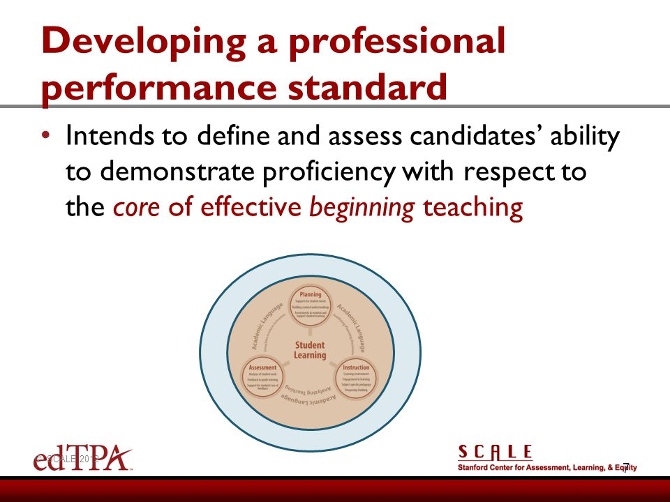 Developing a professional performance standard 7 Intends to define and assess candidates ability to demonstrate proficiency with respect to the core o