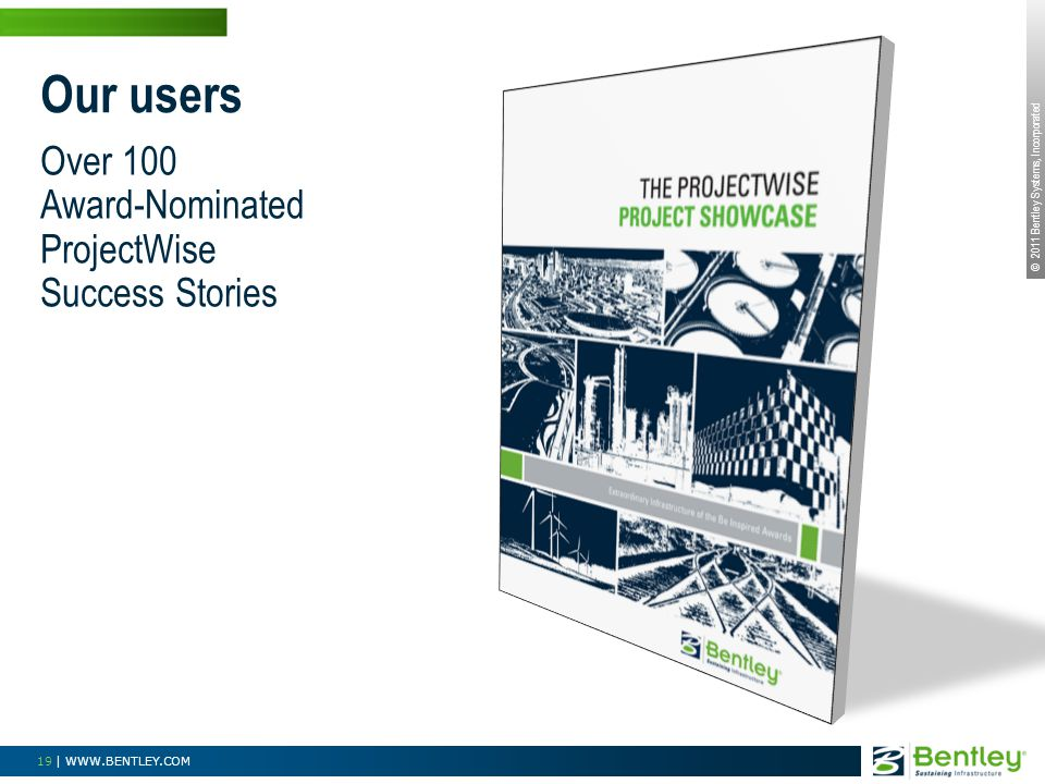 © 2011 Bentley Systems, Incorporated 19 | WWW.BENTLEY.COM Over 100 Award-Nominated ProjectWise Success Stories Our users