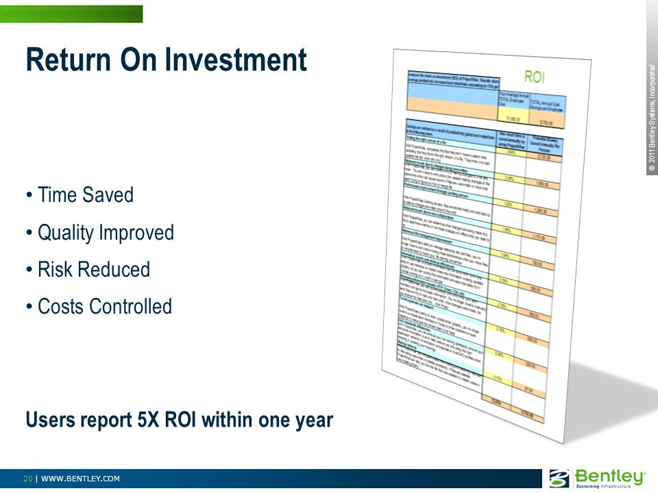 © 2011 Bentley Systems, Incorporated 20 | WWW.BENTLEY.COM Return On Investment Time Saved Quality Improved Risk Reduced Costs Controlled Users report