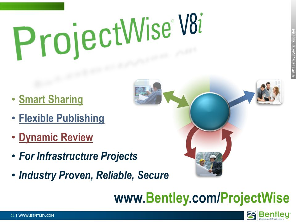 © 2011 Bentley Systems, Incorporated 21 | WWW.BENTLEY.COM Smart Sharing Flexible Publishing Dynamic Review For Infrastructure Projects Industry Proven