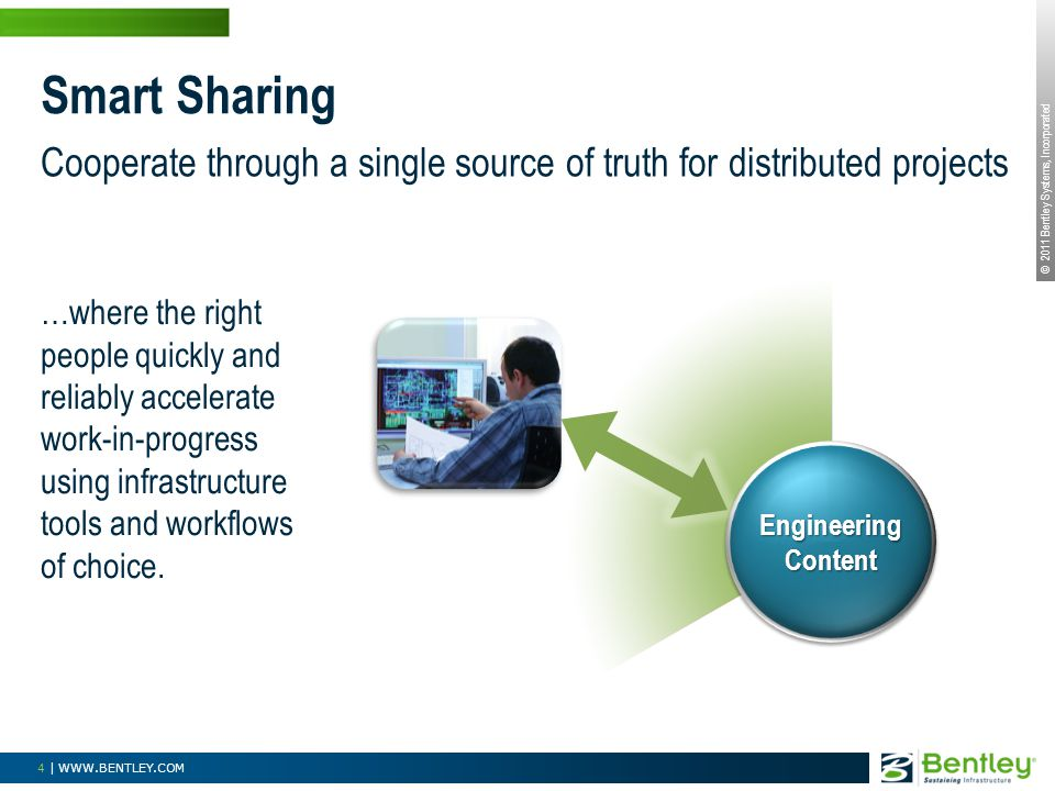 © 2011 Bentley Systems, Incorporated 4 | WWW.BENTLEY.COM Smart Sharing Engineering Content Cooperate through a single source of truth for distributed