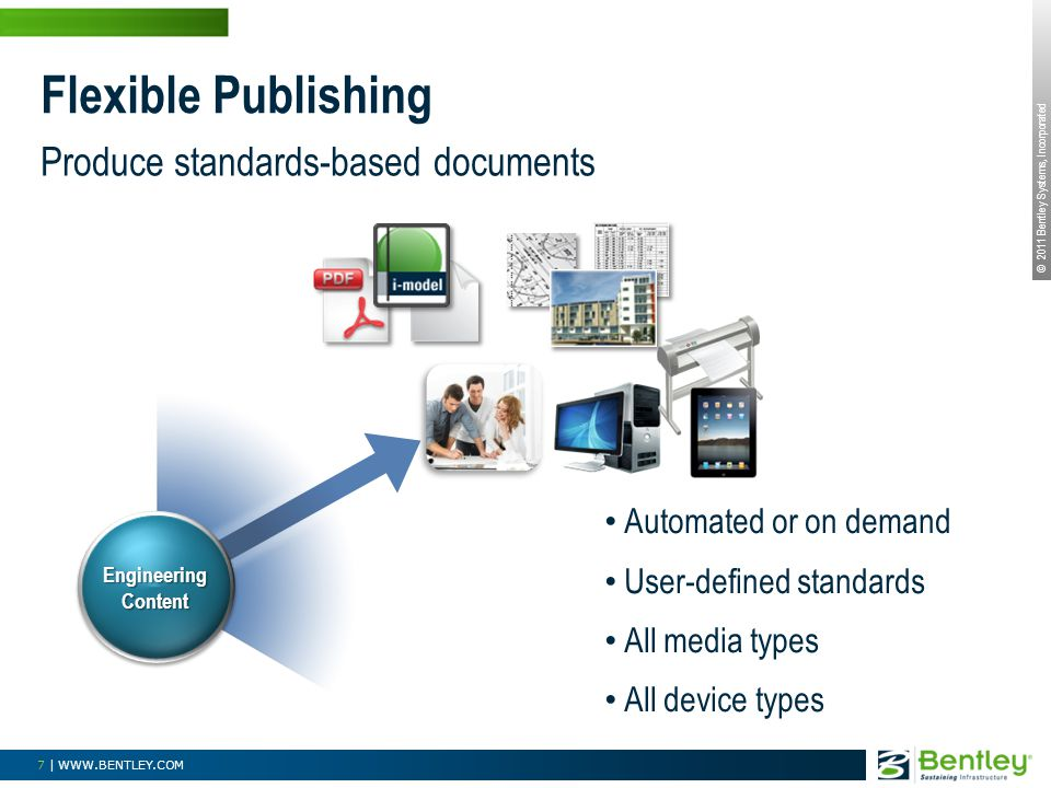 © 2011 Bentley Systems, Incorporated 7 | WWW.BENTLEY.COM Produce standards-based documents Flexible Publishing Automated or on demand User-defined sta