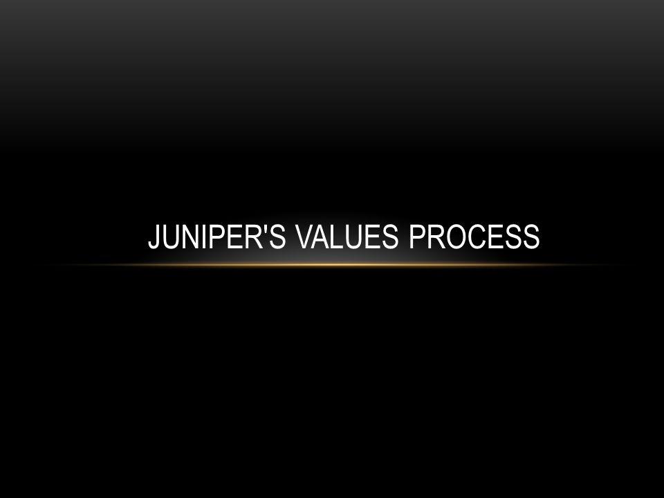 JUNIPER'S VALUES PROCESS
