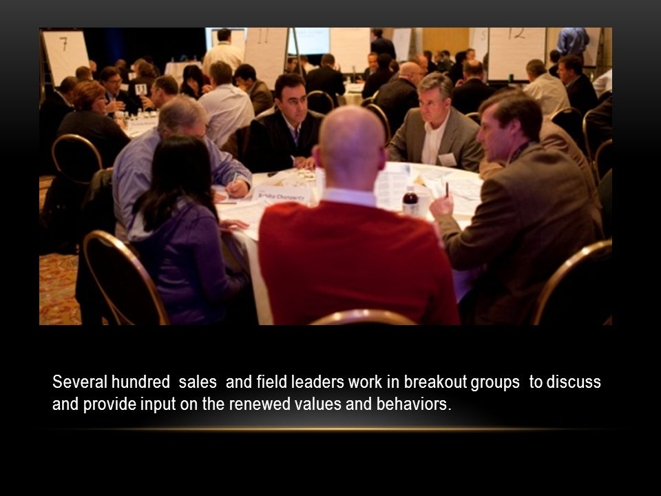 Several hundred sales and field leaders work in breakout groups to discuss and provide input on the renewed values and behaviors.