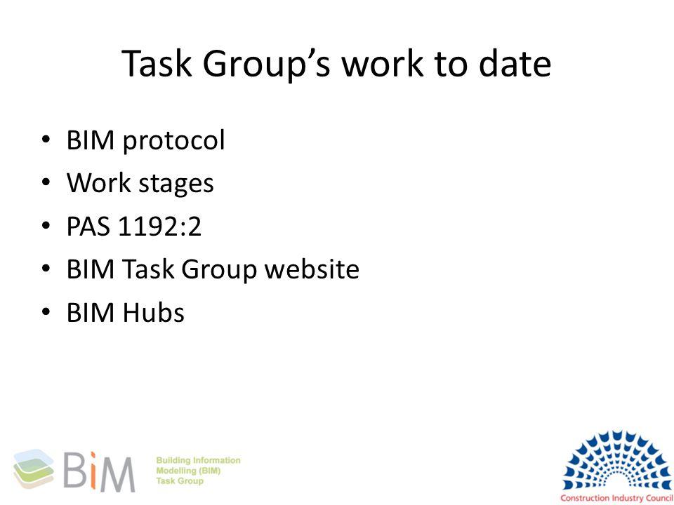 Task Groups work to date BIM protocol Work stages PAS 1192:2 BIM Task Group website BIM Hubs