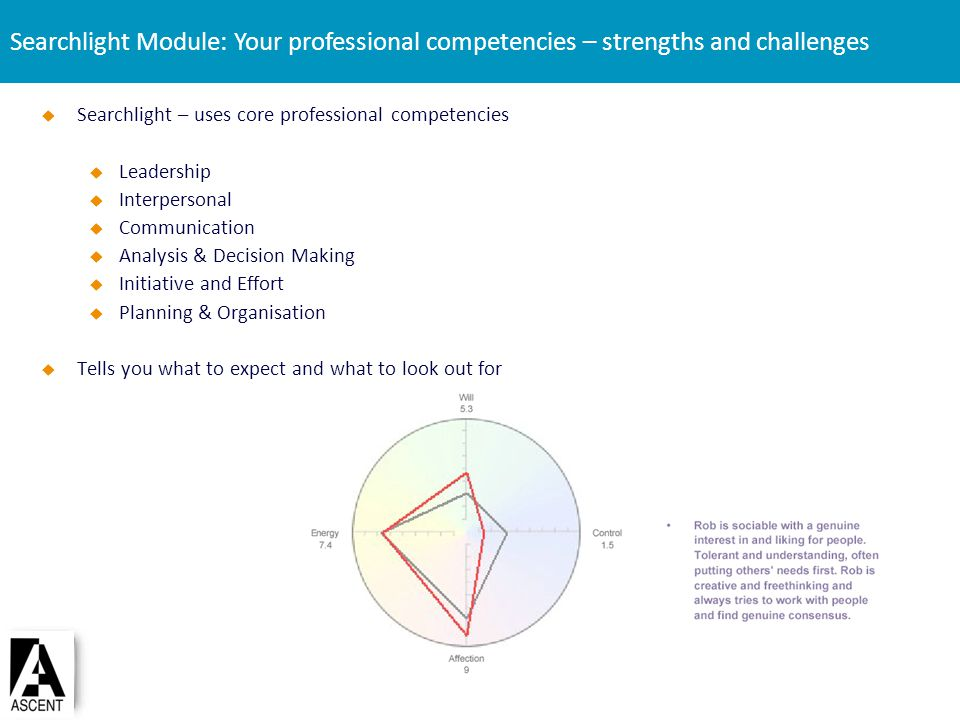 Searchlight – uses core professional competencies Leadership Interpersonal Communication Analysis & Decision Making Initiative and Effort Planning & O
