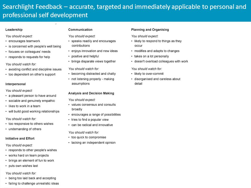 Searchlight Feedback – accurate, targeted and immediately applicable to personal and professional self development