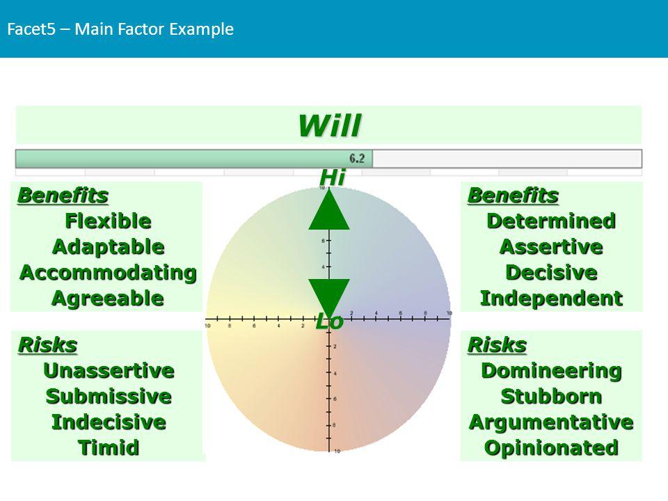 Facet5 – Main Factor ExampleBenefitsFlexibleAdaptableAccommodatingAgreeableBenefitsDeterminedAssertiveDecisiveIndependent RisksDomineeringStubbornArgu