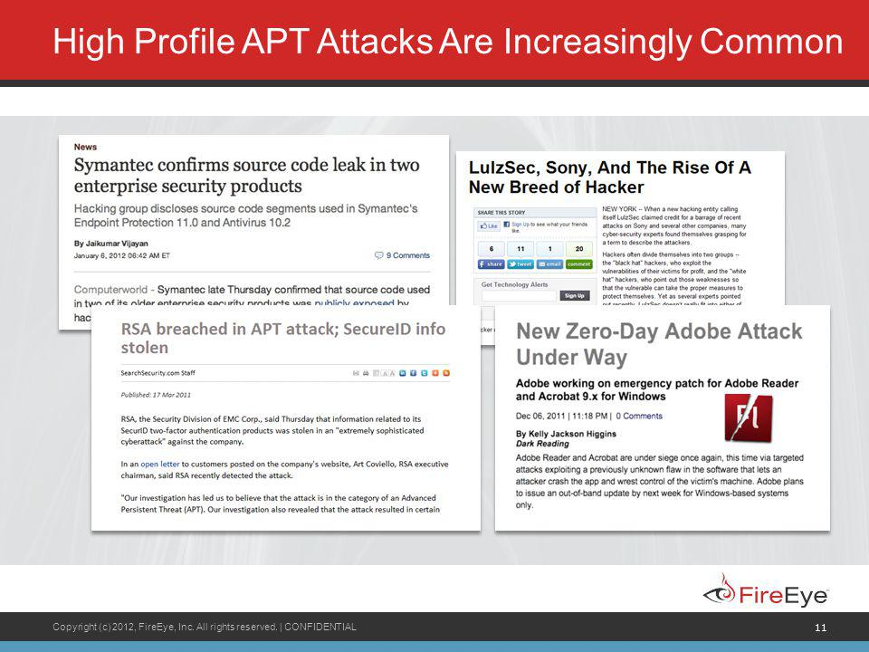 Copyright (c) 2012, FireEye, Inc. All rights reserved. | CONFIDENTIAL 11 High Profile APT Attacks Are Increasingly Common