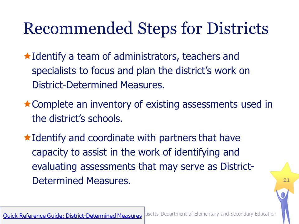 Recommended Steps for Districts Identify a team of administrators, teachers and specialists to focus and plan the districts work on District-Determined Measures.