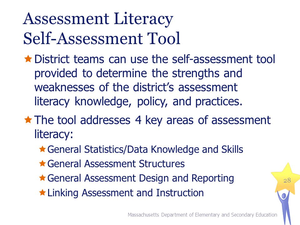 Assessment Literacy Self-Assessment Tool District teams can use the self-assessment tool provided to determine the strengths and weaknesses of the districts assessment literacy knowledge, policy, and practices.