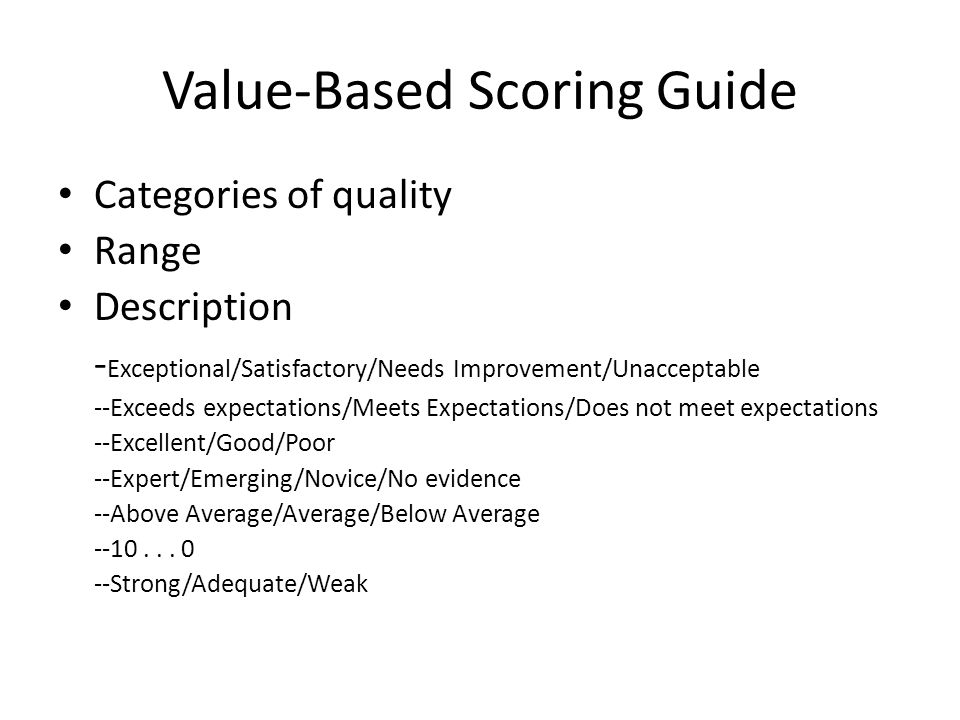 Value-Based Scoring Guide Categories of quality Range Description - Exceptional/Satisfactory/Needs Improvement/Unacceptable --Exceeds expectations/Mee