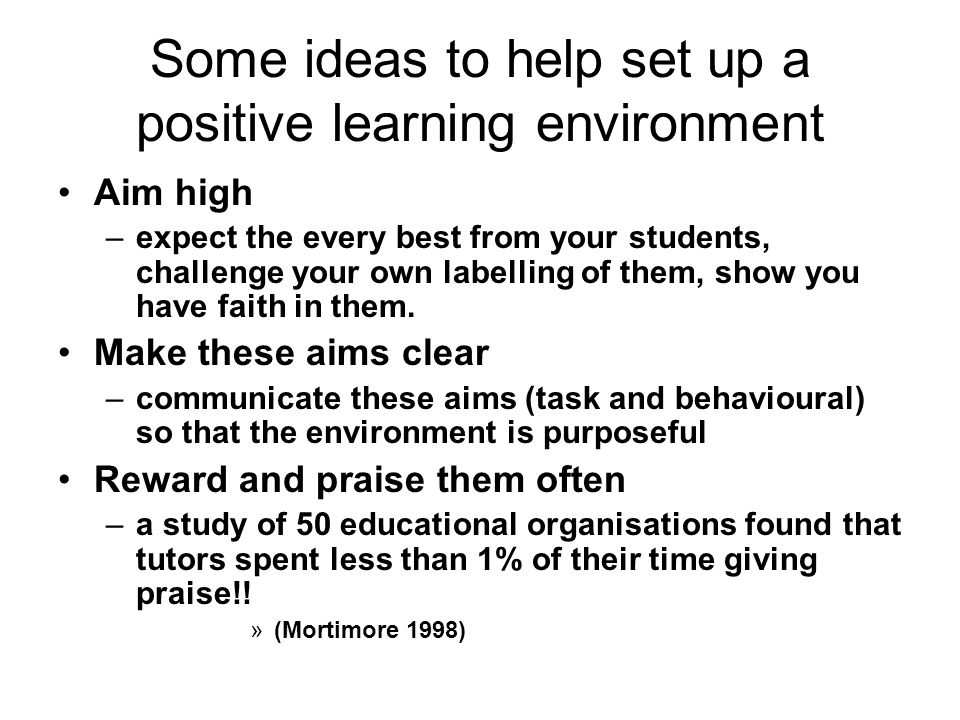 Some ideas to help set up a positive learning environment Aim high –expect the every best from your students, challenge your own labelling of them, sh