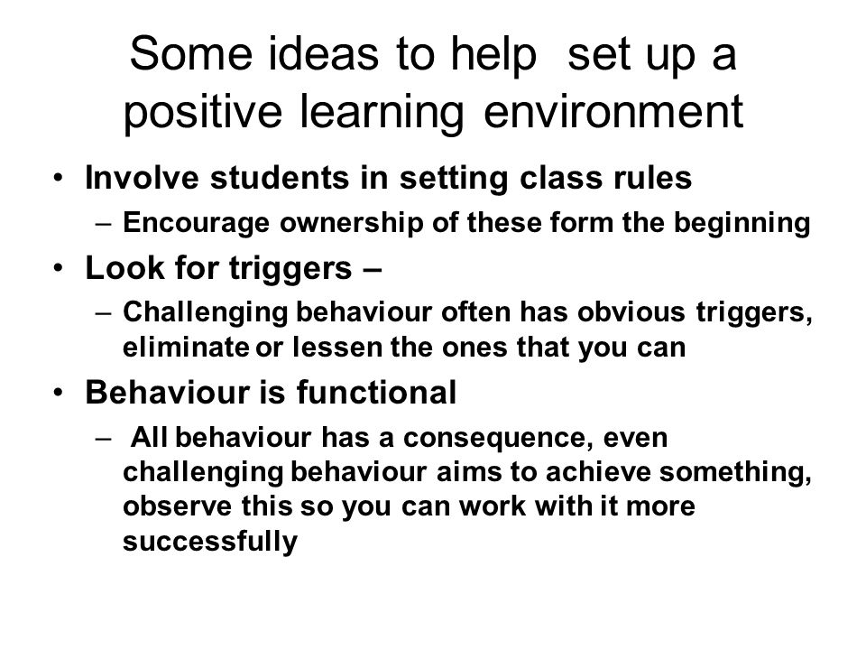 Some ideas to help set up a positive learning environment Involve students in setting class rules –Encourage ownership of these form the beginning Loo