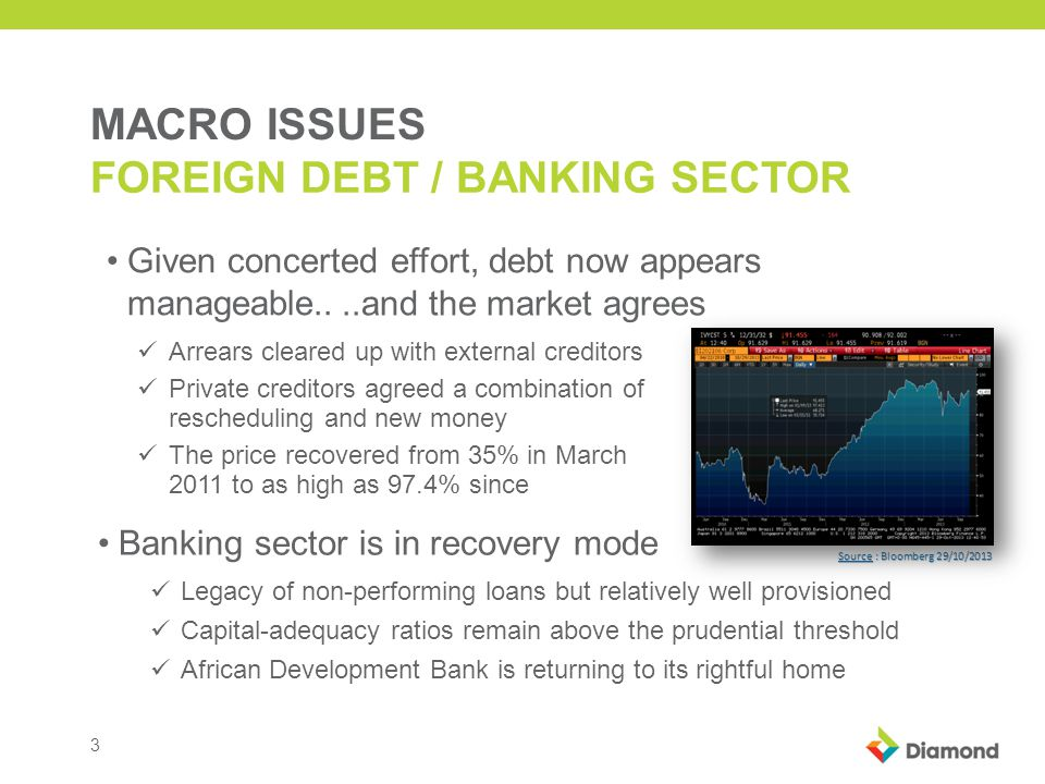 3 MACRO ISSUES FOREIGN DEBT / BANKING SECTOR Given concerted effort, debt now appears manageable..