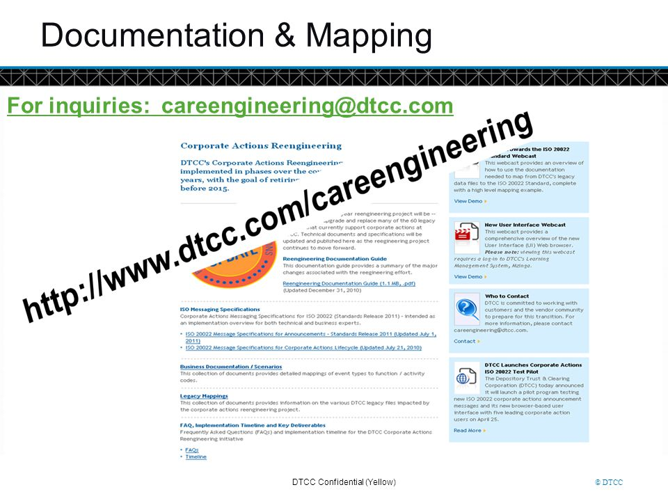 © DTCC Documentation & Mapping For inquiries: careengineering@dtcc.com DTCC Confidential (Yellow)