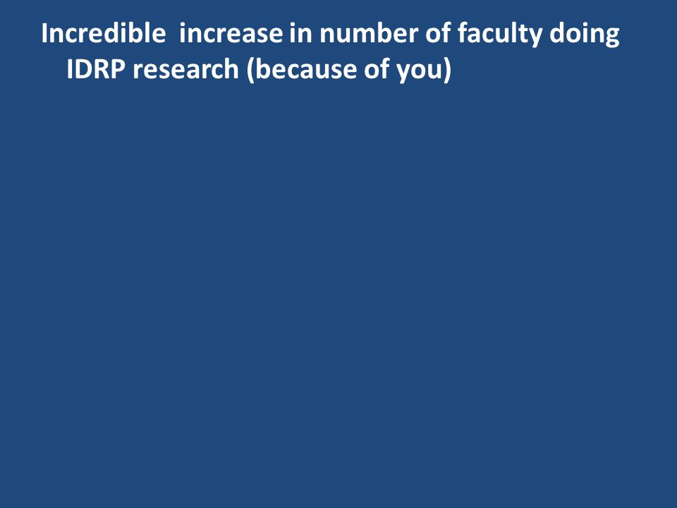 Incredible increase in number of faculty doing IDRP research (because of you)