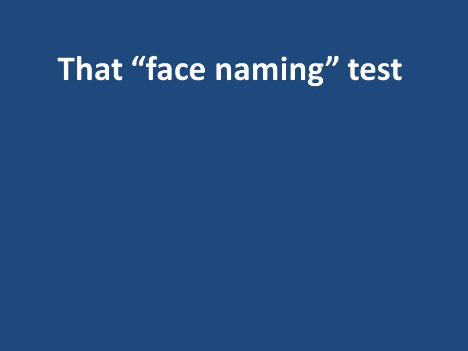 That face naming test