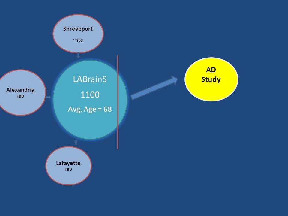 LABrainS 1100 Avg. Age = 68 Shreveport ~ 300 AD Study Lafayette TBD Alexandria TBD
