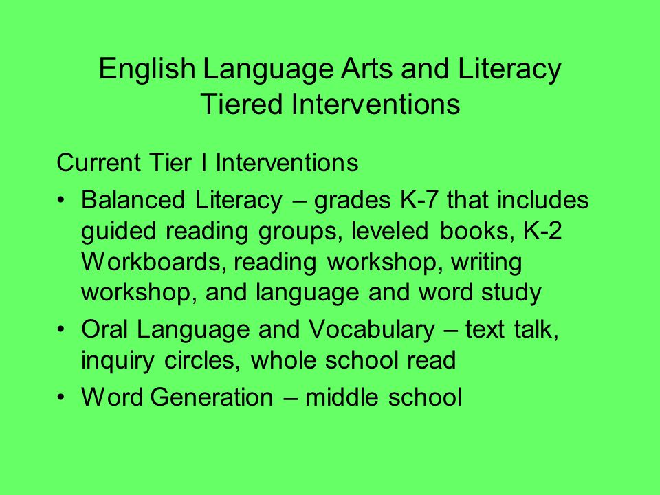 English Language Arts and Literacy Tiered Interventions Current Tier I Interventions Balanced Literacy – grades K-7 that includes guided reading group