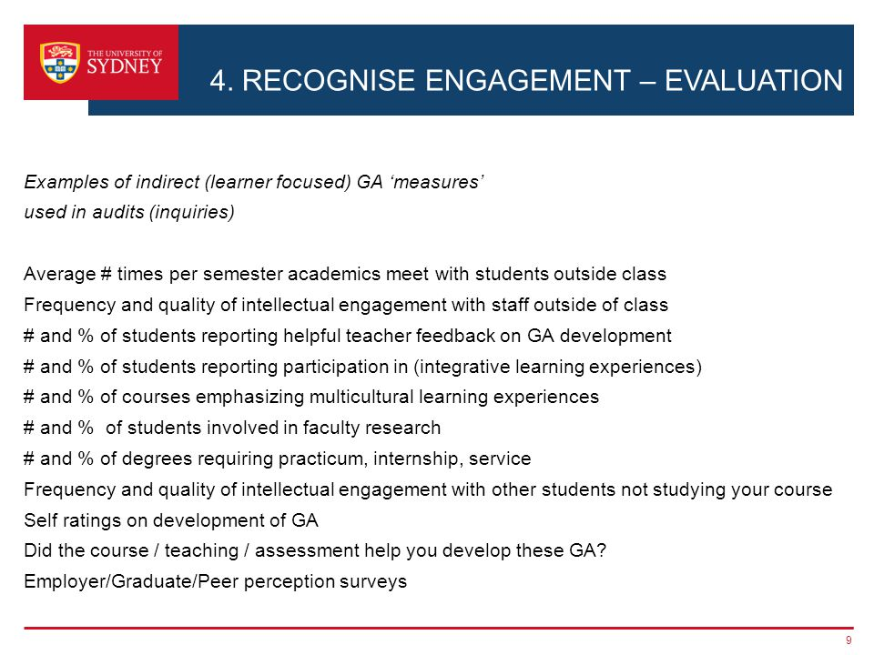 4. RECOGNISE ENGAGEMENT – EVALUATION Examples of indirect (learner focused) GA measures used in audits (inquiries) Average # times per semester academ