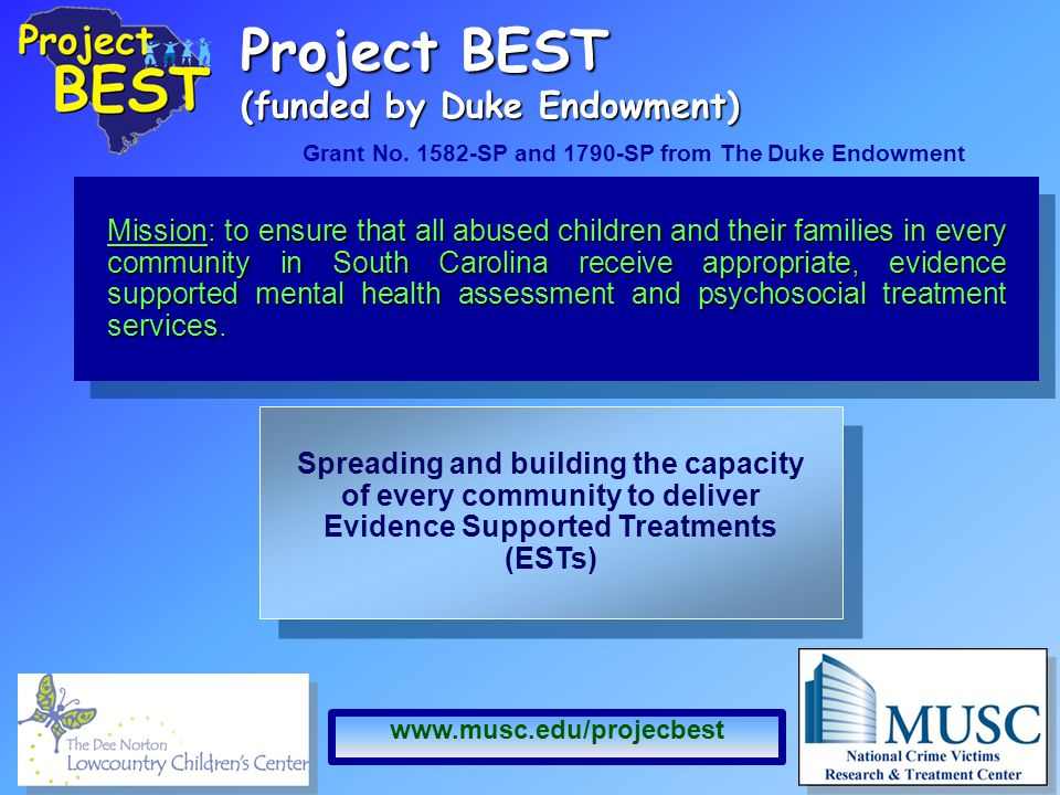Project BEST (funded by Duke Endowment) Mission: to ensure that all abused children and their families in every community in South Carolina receive appropriate, evidence supported mental health assessment and psychosocial treatment services.