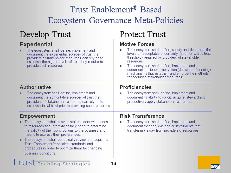 16 Trust Enablement ® Based Ecosystem Governance Meta-Policies Experiential The ecosystem shall define, implement and document the experiential sources of trust that providers of stakeholder resources can rely on to establish the higher levels of trust they require to provide such resources.