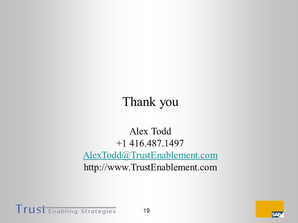 19 Thank you Alex Todd +1 416.487.1497 AlexTodd@TrustEnablement.com http://www.TrustEnablement.com