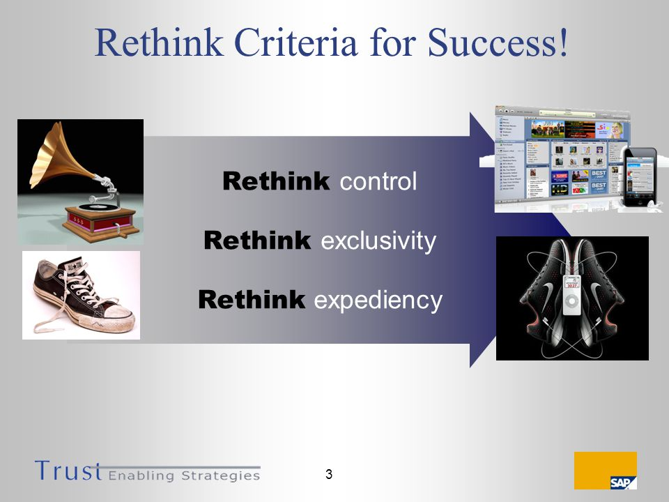 3 Rethink Criteria for Success! Rethink control Rethink exclusivity Rethink expediency