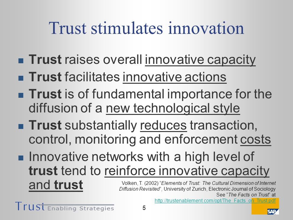 5 Trust stimulates innovation Trust raises overall innovative capacity Trust facilitates innovative actions Trust is of fundamental importance for the diffusion of a new technological style Trust substantially reduces transaction, control, monitoring and enforcement costs Innovative networks with a high level of trust tend to reinforce innovative capacity and trust Volken, T.