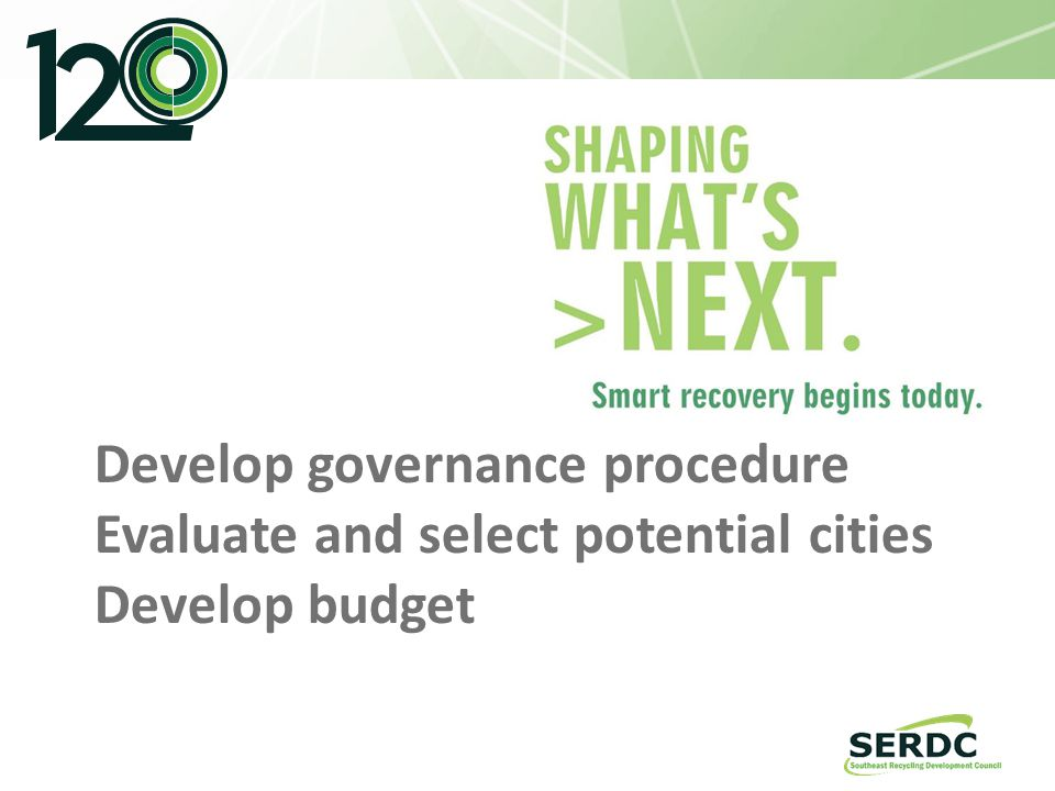 Develop governance procedure Evaluate and select potential cities Develop budget